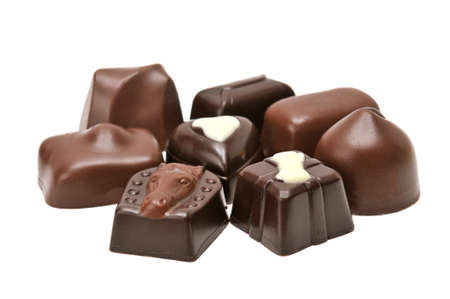 Chocolates isolated on a white background                                    photo