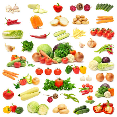 collection vegetables isolated on white background photo