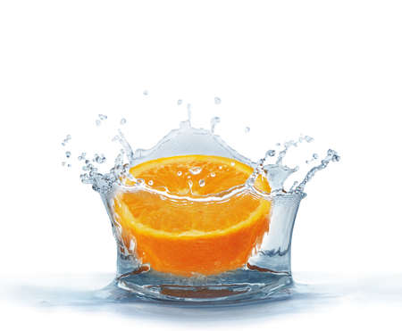 Orange falls into the water isolated on a white background. Splash water.                                    Stock Photo - 7865059