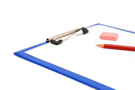 clipboard and pencil isolated on a white background                                     photo
