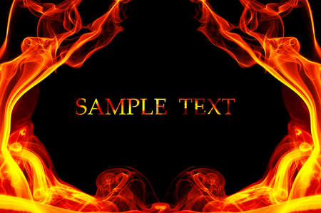 fire place: Fire in the shape of the frame. Background with place for your text