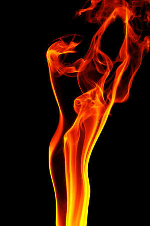 black smoke: fire on a black background                                     Stock Photo
