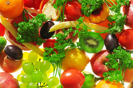 fruit and vegetables: fruits and vegetables on a white                                     Stock Photo