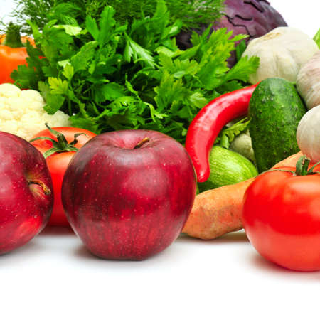 fruit and vegetables isolated on a white background                                     photo