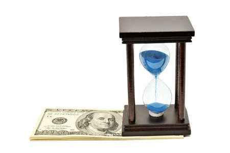 sand clock: sand-glass and dollar. Concept - time is money