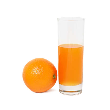 Glass with juice and fruit isolated on a white background                                     photo