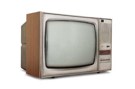 television antigua: Tubo anticuado TV aislado en un fondo blanco.   Foto de archivo