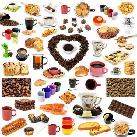 Caffè, tè e pasticcini. Concetto: cibo e articoli per la tavola per la colazione.