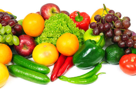 fruits et légumes isolés sur un fond blanc                                     Banque d'images