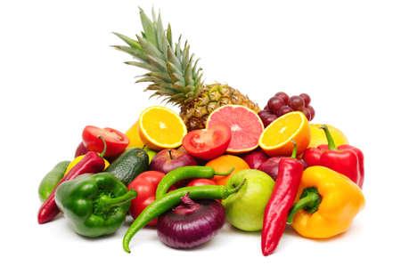 fruits and vegetables: fruits and vegetables isolated on a white background Stock Photo
