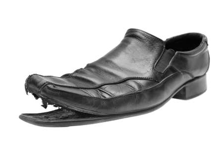 mens: old shoe isolated on a white background