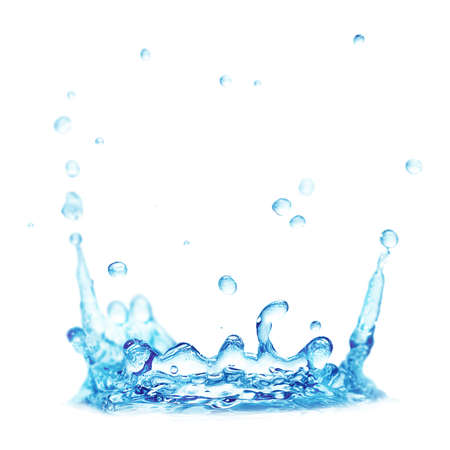 아쿠아: 흰색 배경에 고립 된 스플래시 물