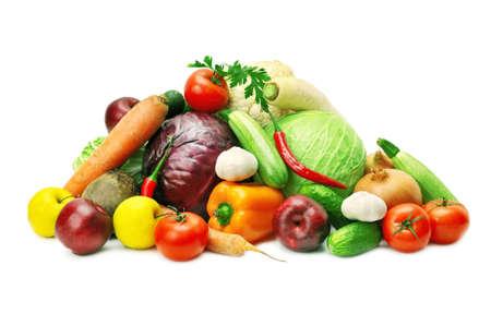 set groenten geïsoleerd op een witte achtergrond Stockfoto