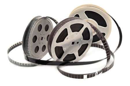 reel: Old film strip isolated on white background.