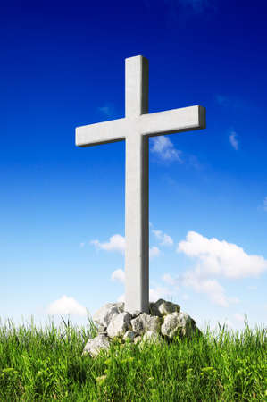 Christian cross and blue sky Stock Photo - 10294372