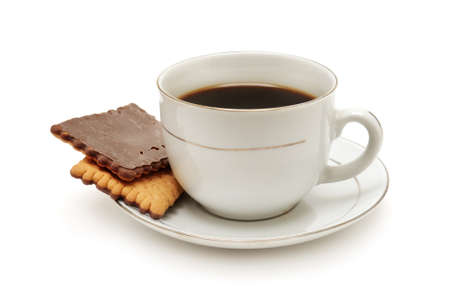chocolate biscuits: Cup of coffee and biscuit isolated on the white background