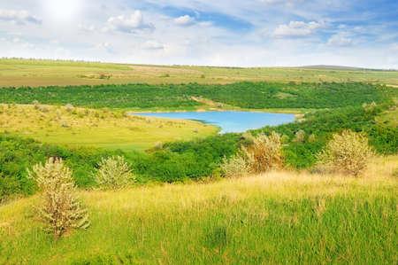 small lake and scenic hills                              photo