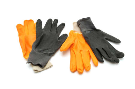 precaution: work gloves isolated on a white background