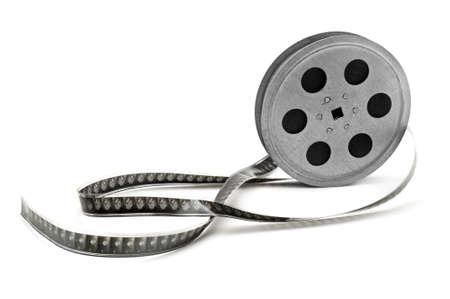 rollo pelicula: Película antigua tira aislada sobre fondo blanco.