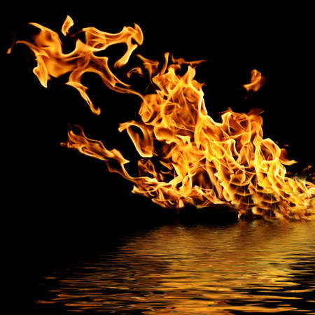 Fire on the water. Isolation on a black background.                                     Stock Photo - 10552313