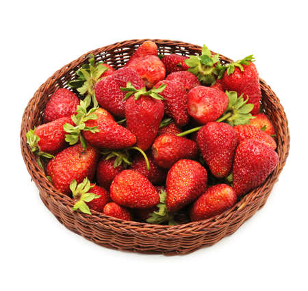 strawberry baskets: strawberry in lug-box isolated on a white background