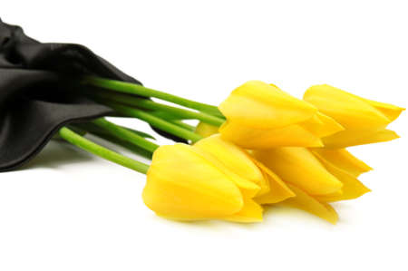 burial: bouquet of yellow flowers for a funeral isolated on a white background                                     Stock Photo