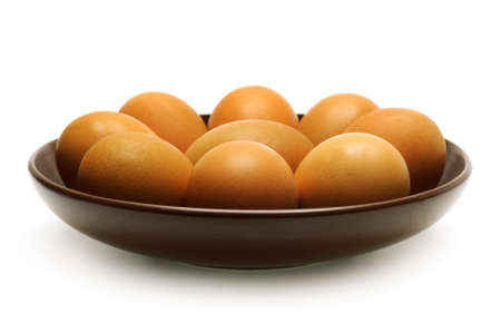 Boiled eggs on a plate isolated on a white background.                                     photo