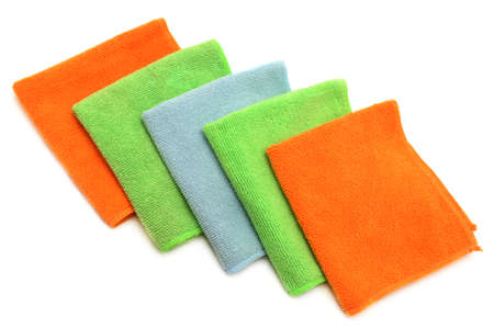Colorful cloths microfiber isolated on a white background.                                     photo