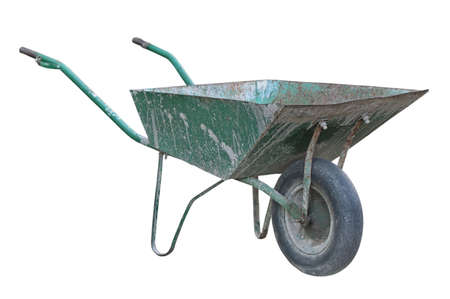 Old wheelbarrow isolated on a white background.                                  photo