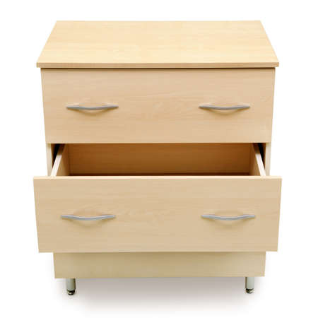highboy: chest of drawers isolated on a white background Stock Photo
