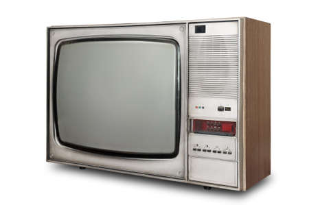 Old-fashioned tube TV isolated on a white background                                     Stock Photo