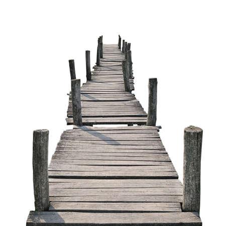 puente: puente peatonal de madera aisladas sobre un fondo blanco