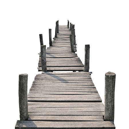 wooden foot bridge isolated on a white background                                    photo
