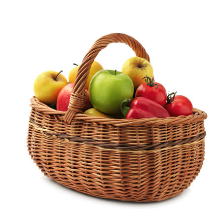 vegetable basket: fruits and vegetables in basket isolated on a white background
