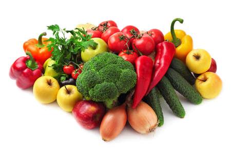 verzamelen van vruchten en groenten geïsoleerd op een witte achtergrond Stockfoto