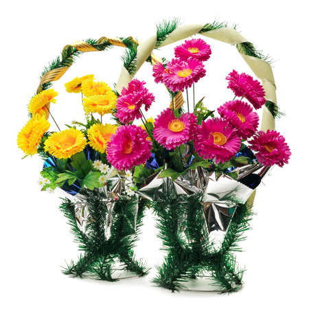 Artificial flowers for a funeral isolated on white                                     photo