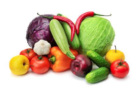 水果和蔬菜孤立在一個白色背景 版權商用圖片