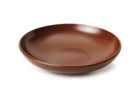 Ceramic plate isolated on a white background                                     Zdjęcie Seryjne