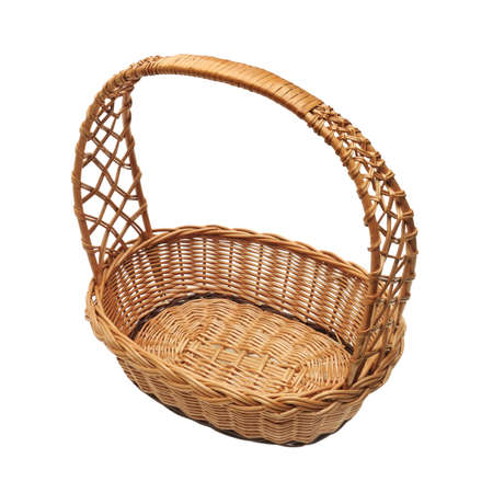 wickerwork: Wicker basket isolated on a white background