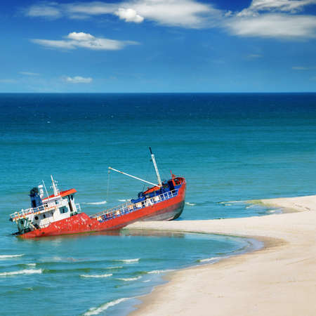 Fishing boat beached                                     photo