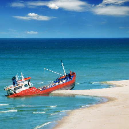 vessel sink: Fishing boat beached