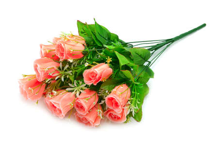 artificial flowers isolated on white background                                     photo