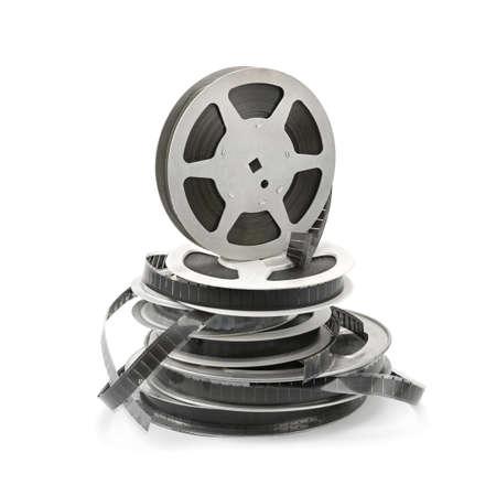 camara de cine: Tira de pel�cula antigua sobre fondo blanco