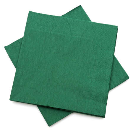 green napkins isolated on a white background                                     photo
