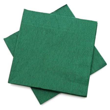 serviette: servilletas verdes aisladas sobre un fondo blanco Foto de archivo