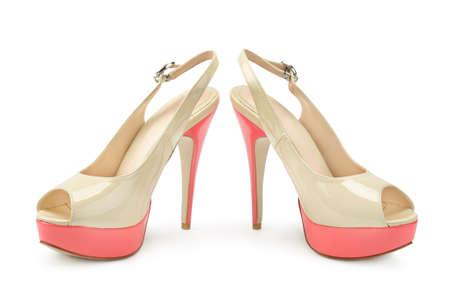 zapatos de mujer hermosa aislado en un fondo blanco photo