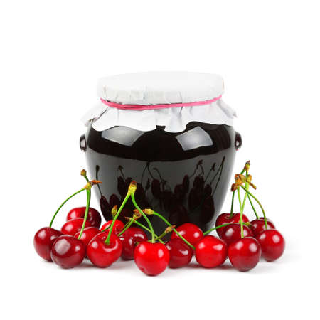 Cherry jam isolated on white background                                     photo
