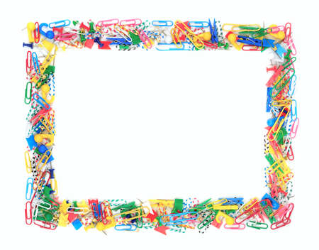 clerical: Frame of office supplies isolated on a white background                                     Stock Photo