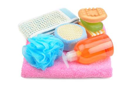 Towel, soap, shampoo, sponge isolated on white                                     photo