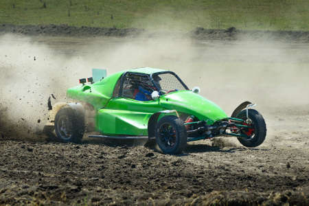 rally car: Sports car racing on the track.                                    Stock Photo